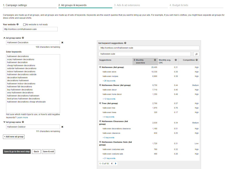 bingads-newcampaign-keywordselection